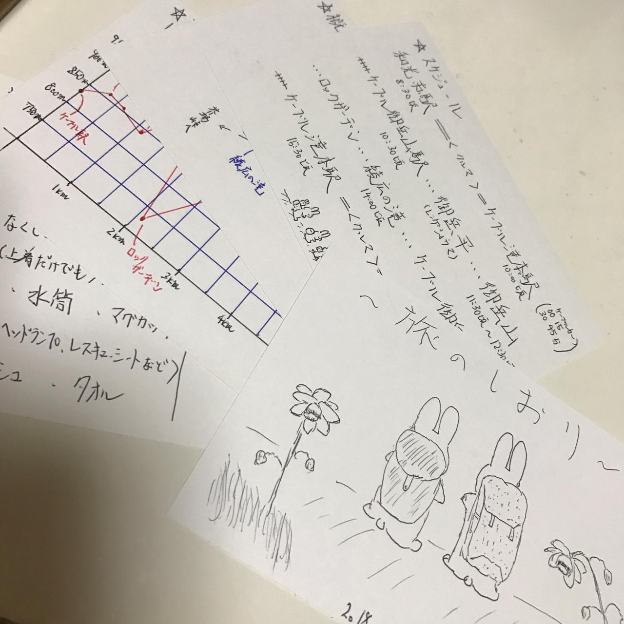画像: ガイドの鷲尾さんが今回のために用意してくれた、手描き「旅のしおり」です!かわいい♪