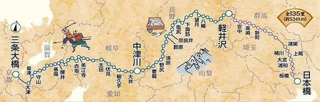 画像: 中山道の地図
