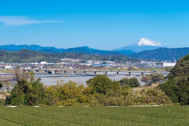 画像: 富士山と大井川