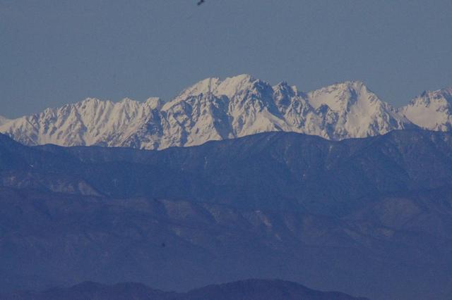 画像: 望遠レンズでズームした穂高連峰