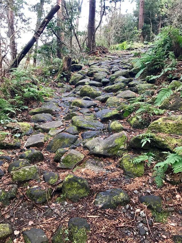 画像: 石畳の登り。苔と前日の雨で滑ります
