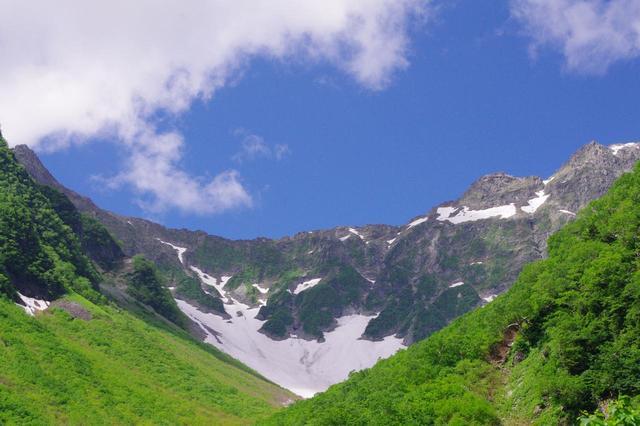 画像: 吊尾根を挟んで奥穂高岳(右)と前穂高岳(左端)
