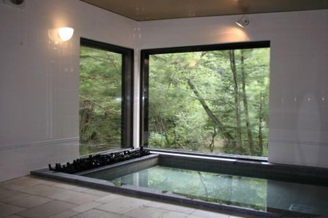 画像: 森を見渡す浴室