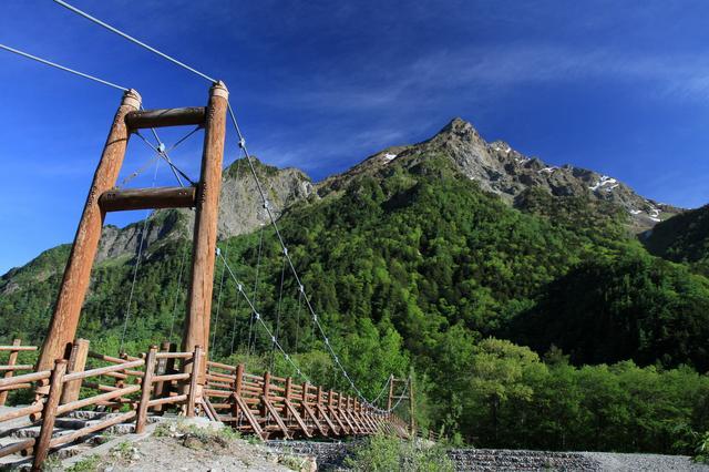 画像: 明神橋(イメージ) 明神館から徒歩5分ほど進むと明神橋があります。眼前に明神岳がそびえたちます。さらに奥へ進むと明神岳をご神体とする明神池へ行くこともできます。