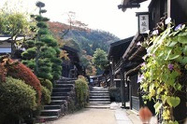 画像: 妻籠宿の紅葉(例年の紅葉の見頃は10月下旬~11月中旬)