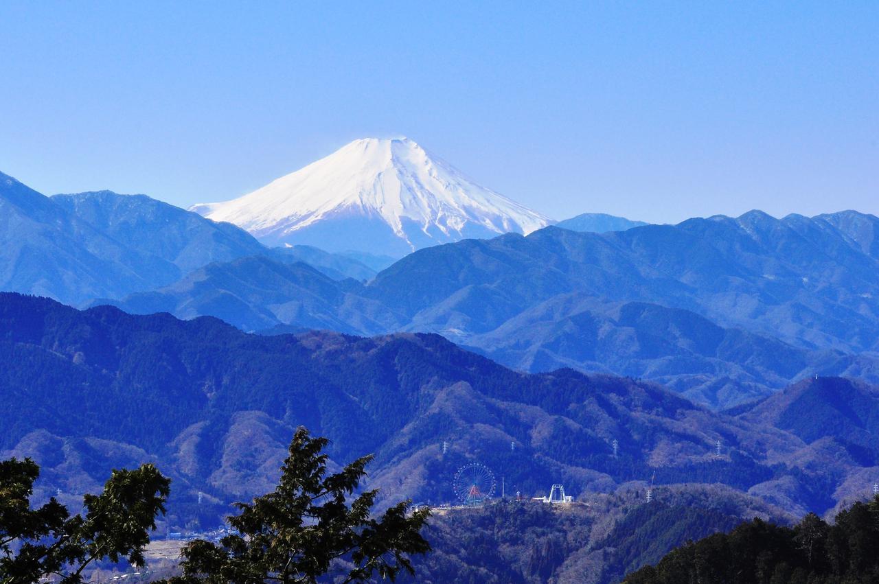 画像: 高尾山山頂から見る雪をかぶった富士山
