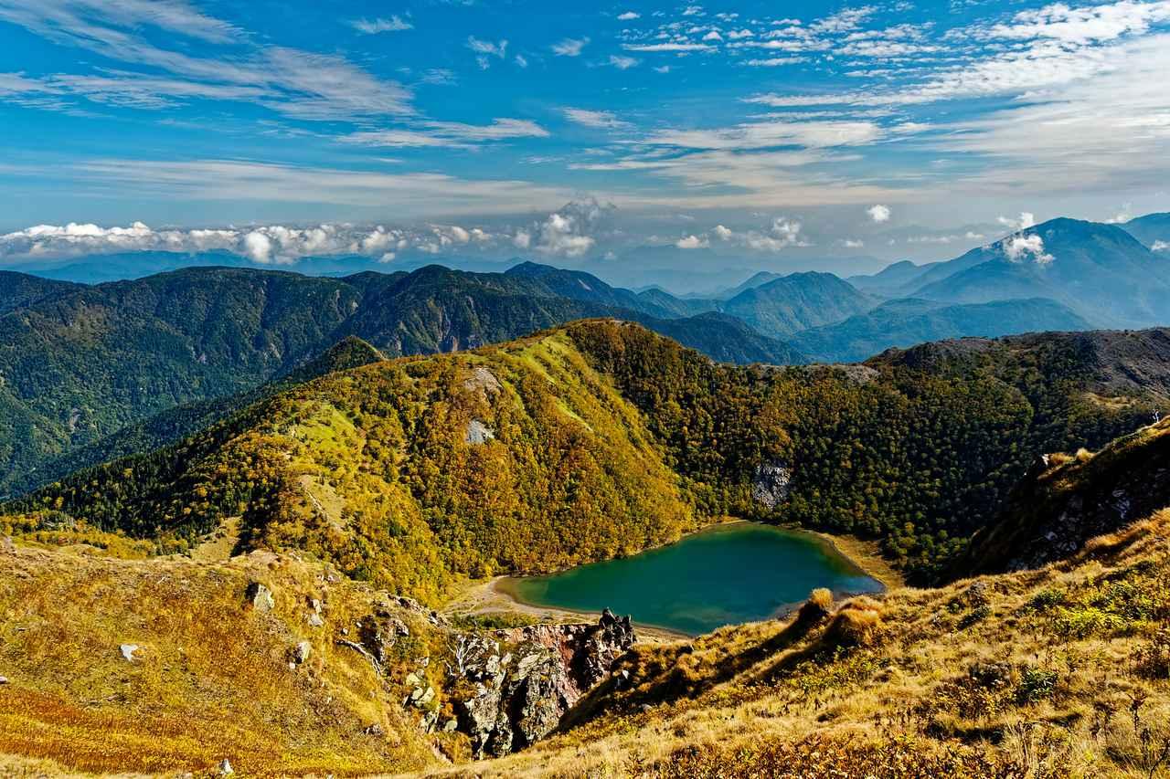 画像: 山頂より見下ろす五色沼