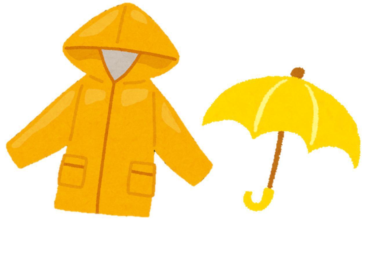 画像: ポンチョタイプの雨具(イメージ) 傘(イメージ)