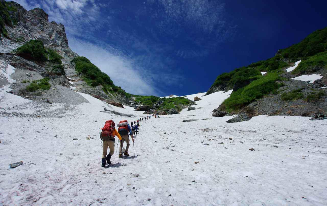画像: 白馬大雪渓上部