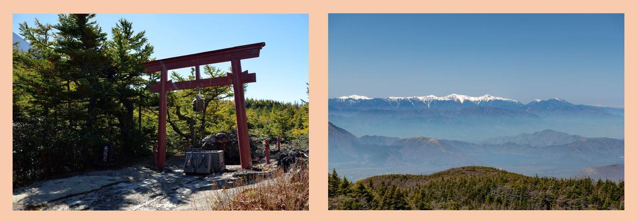 画像: 左:天狗岩 右:御庭からの眺望