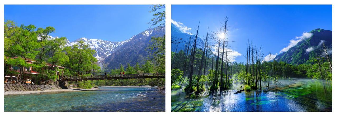 画像: 左:上高地のシンボル 河童橋(イメージ) 右:岳沢湿原(イメージ)