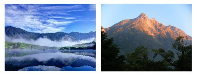 画像: 左:朝もやに包まれる大正池(イメージ) 右:幻想的な朝焼けの明神岳(イメージ)