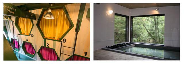 画像: 左:プライベート空間が分かれる相部屋(イメージ) 右:山小屋では珍しい大浴場も完備(イメージ)