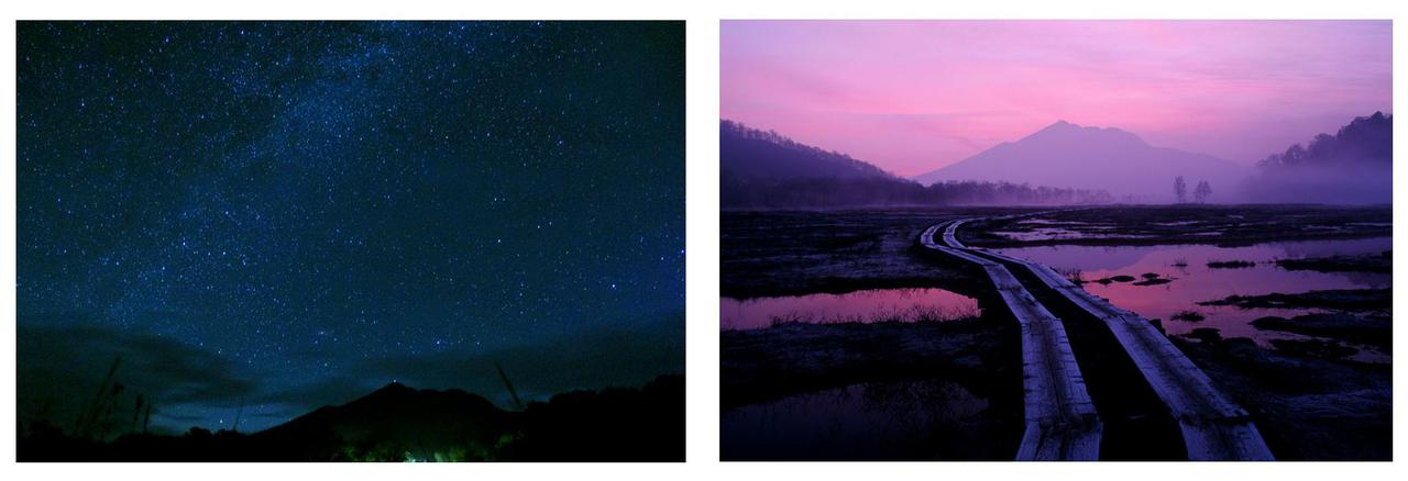 画像: 左:満天の星空(イメージ) 右:幻想的な朝焼け(イメージ)