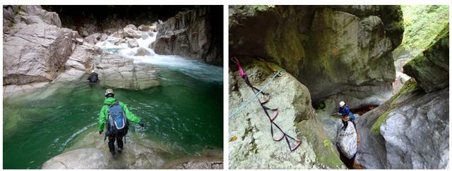 画像: 写真左:神崎川本流 泳ぎがメインの沢です 写真右:滝洞谷 クライミングがメインの難易度の高い沢です