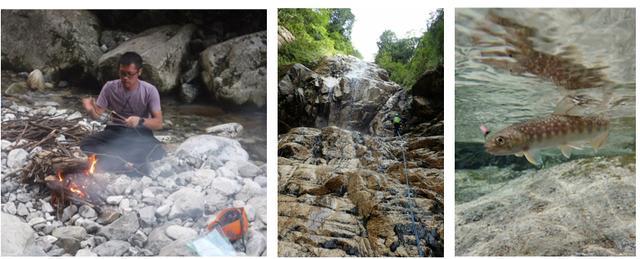 画像: 画像左:沢での焚き火 画像中:大滝をクライミング 画像右:天然のイワナ