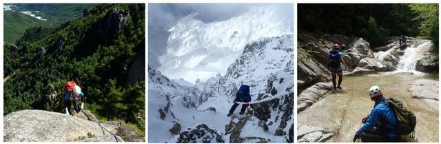 画像: 左:小川山での岩登り 中:赤岳雪山登山 右:赤坂谷での沢登り