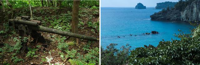 画像: 左:森の中に残された高射砲(高角砲) 右:潜水艦からの攻撃を受けて着底した輸送船 濱江丸