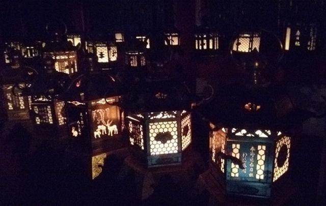 画像: 春日大社の釣燈籠。鹿をモチーフにしたものも数多く奉納されています。