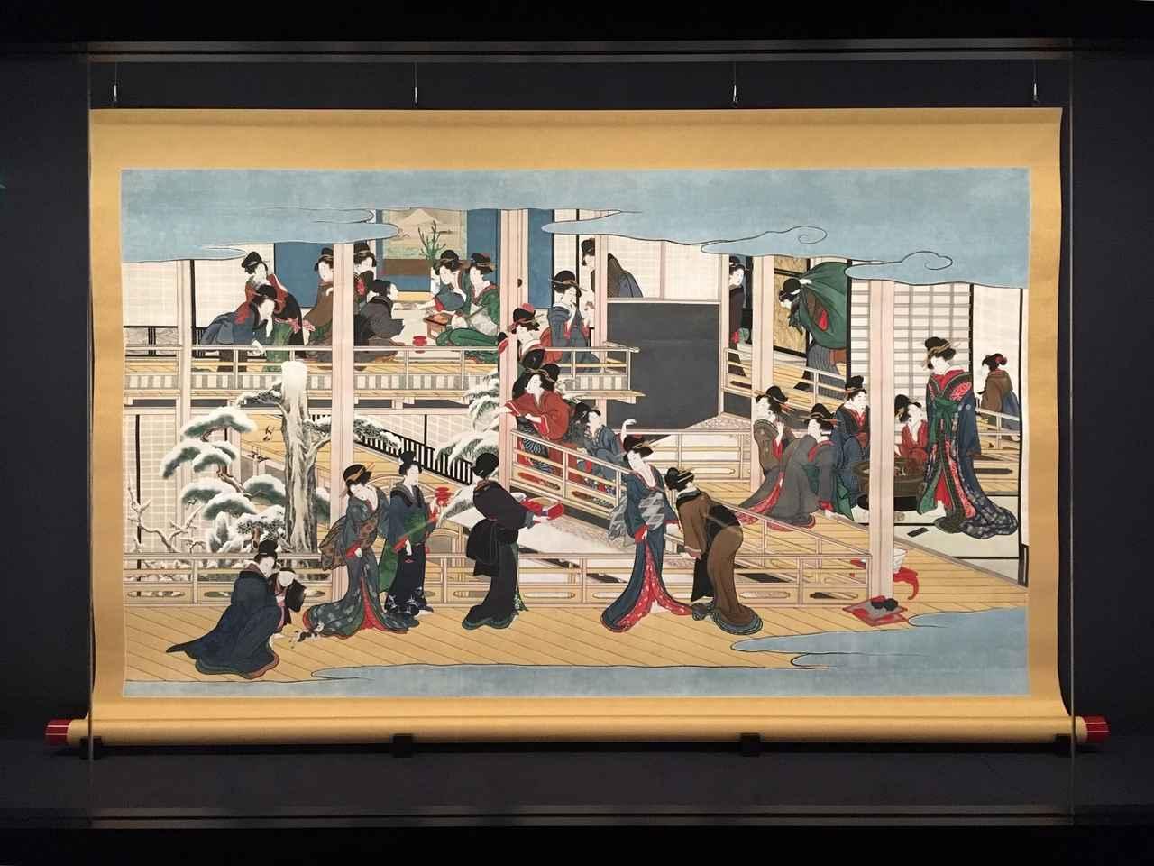 画像: 喜多川歌麿の「深川の雪」江戸時代 享和2~文化3年(1802~06)頃 岡田美術館蔵 (展示期間:9/30~12/28)