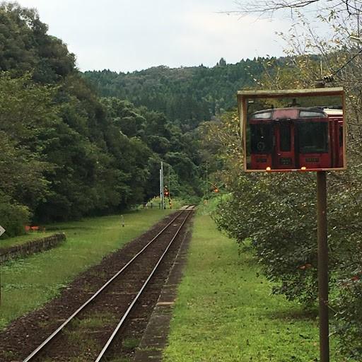 画像: 後方確認ミラーに映る九州縦断特急