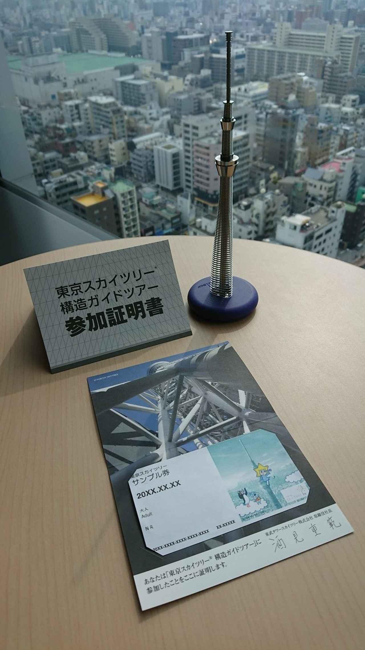 画像: 構造ガイドツアー参加証明書(写真はイメージです/右上の模型は含まれません)