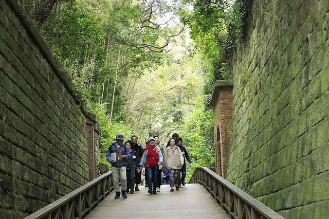 画像: 竹崎ガイドを先頭に苔むす石垣の間を歩く一行。壁面には房総半島の房州石も使われているそうです