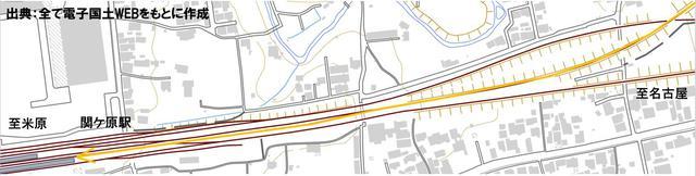 画像: 関ヶ原駅周辺の配線図。ホームは4番線まであるが、1・3・4番線をそれぞれ下り普通列車・下り特急通過・上り列車が使うため2番線に入線するしかない。