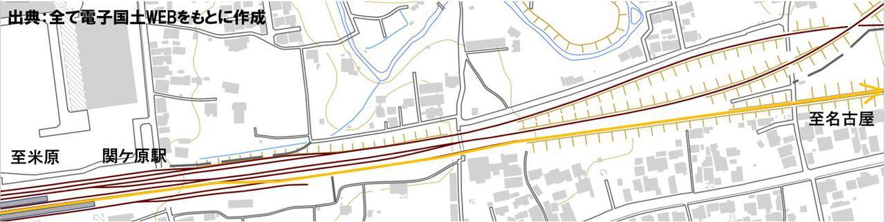 画像: 関ヶ原駅周辺の配線図。2番線から上り本線に入れないことがわかる。