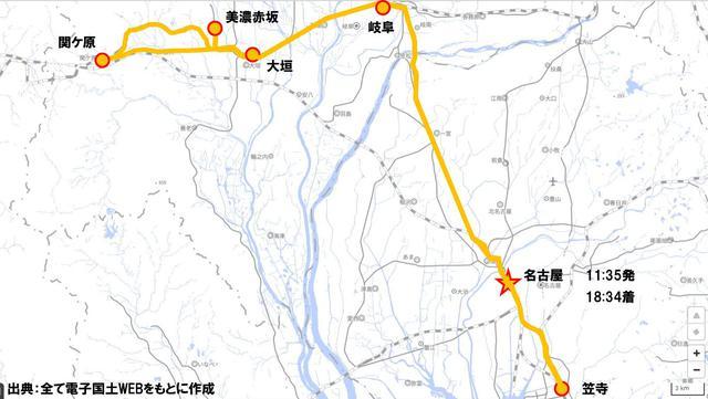 画像: 今回の貨物線ツアーの概略図。名古屋近郊をめぐる約7時間のツアー。