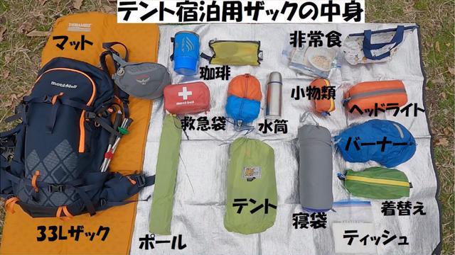 画像: 1泊2日のテント泊を想定した持ち物
