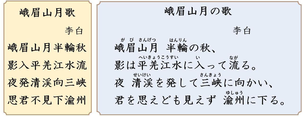画像: 左:中国語の原文 右:日本語の書き下し