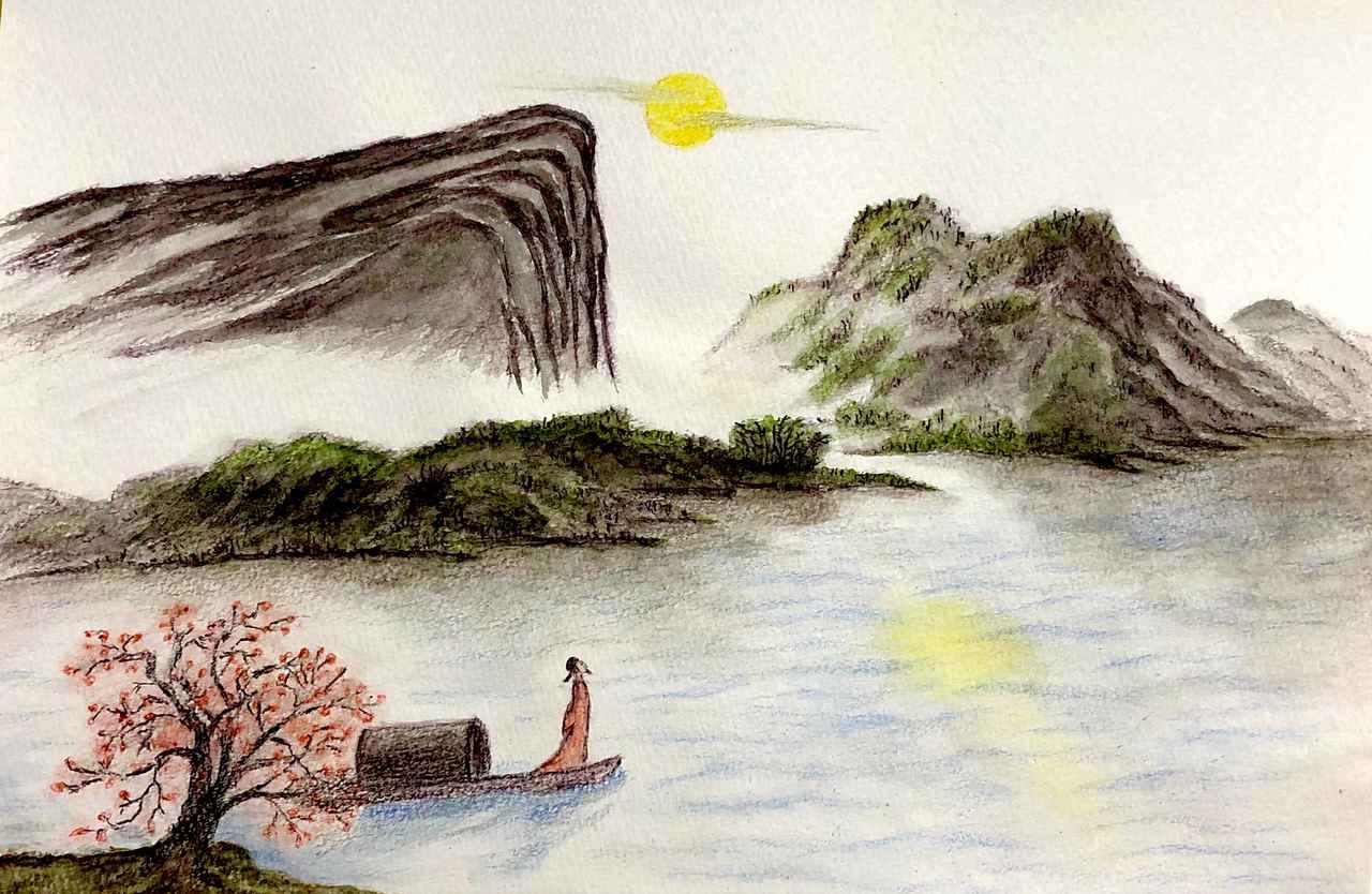 画像: (漢詩のイメージを描いたイラスト 王)