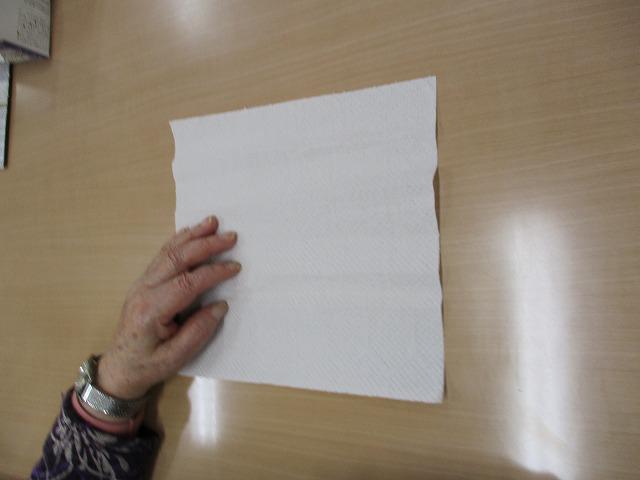画像: キッチンペーパーを使った簡易マスクです。