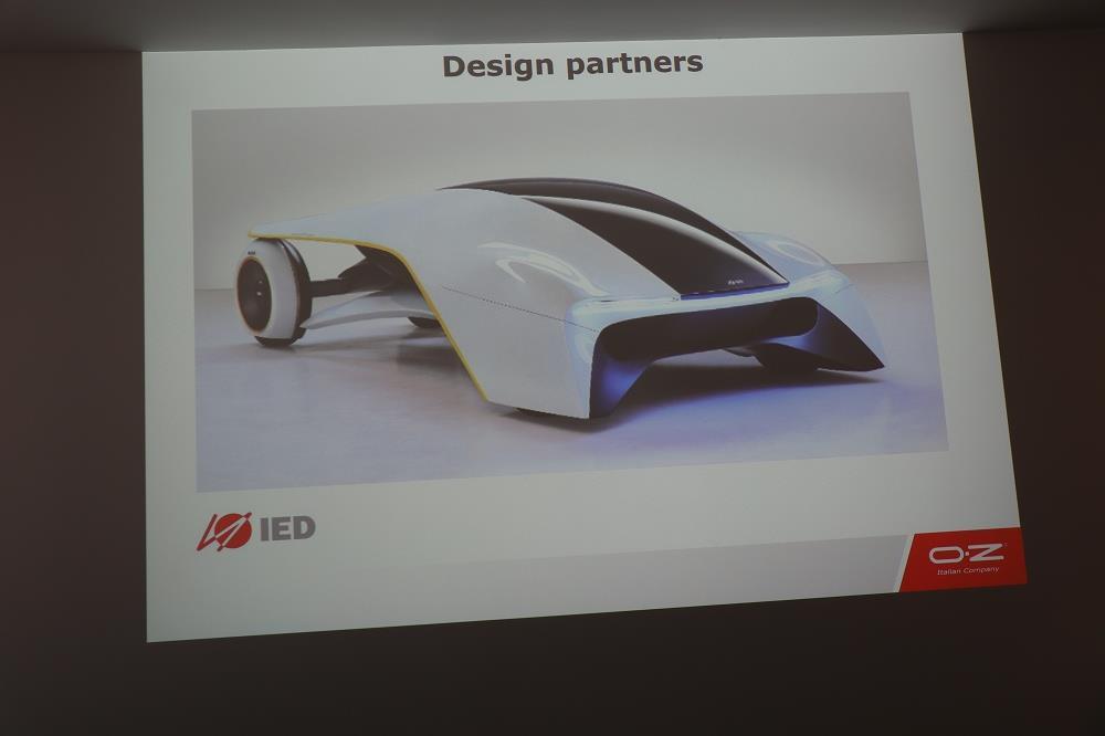 画像: 長年コラボレーションしているデザインスクールがデザインした未来型の車にもOZホイールが装着されています。