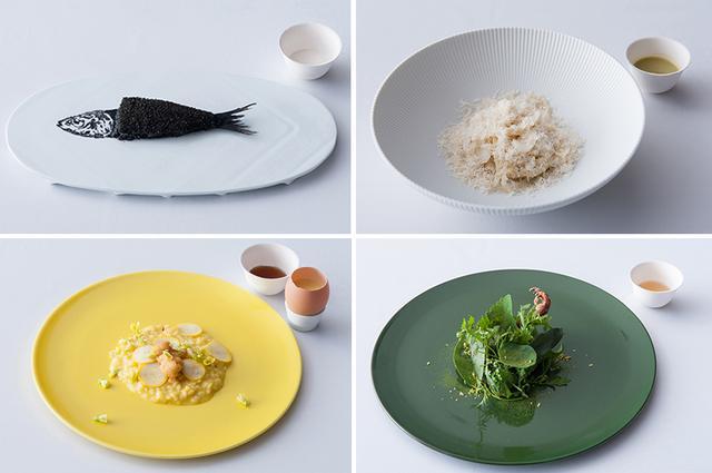画像: (左上から)『魚拓』と松の実のミルク。青トマトとオリーブのコールドプレスジュースが添えられた『ユリ根とアーモンドのキタッラ』。ローストした鳩をハーブで包んだ、緑の『小鳩』のブロードには、焼きトウモロコシを使用。黄の『雲丹とサフランのリゾット』は、インカの目覚めとハーブを煮込んだブロードをアクセントに