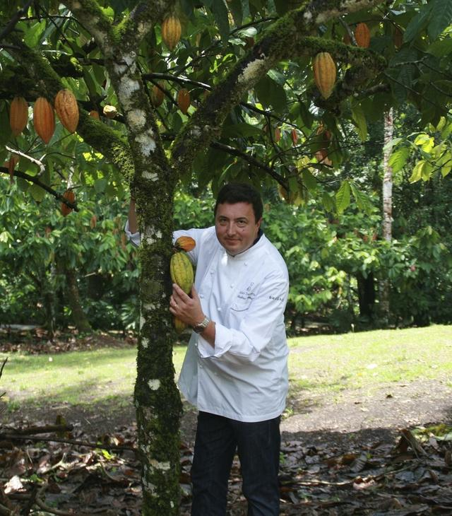 画像: カカオ・フォレストが支援するプランテーションを訪ねたカッセル氏。熟す前のカカオポッドが実っているカカオの木の下で COURTESY OF CACAO FOREST