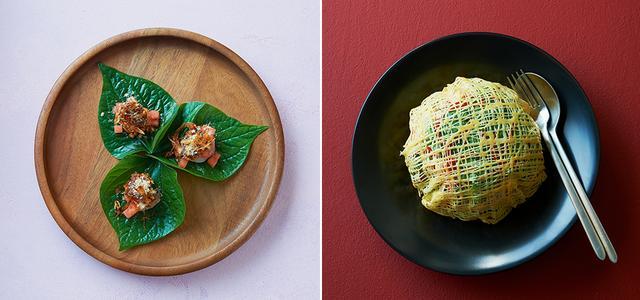 """画像: (写真左) 「""""ミャンカム""""海老 ピーナッツソース」 ミャンカムとは「一口で色々なものを食べる」という意味を表し、タイ料理では、食事のスターターとして親しまれている (写真右) 「エッグネット キュウリレリシュ」 豚肉、エビ、ビーンズスプラウトの上に、蜘蛛の巣のように網目状に仕上げた卵をのせたサラダ。別添えの""""キュウリのレリッシュ""""で口直しを PHOTOGRAPHS BY TERUAKI KAWAKAMI"""
