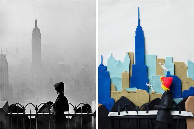 画像: (写真左)エリオット・アーウィットの『エンパイア・ステート・ビル / ニューヨーク』(1955年) © ELLIOTT ERWITT/MAGNUM PHOTOS (写真右)プレイ・ドーで表現されたエレノア・マクネアの作品。「オリジナルの写真は白黒。これを再現するのは難題だったわ。それに、私自身、白のプレイ・ドーをそんなに多く持っていなくて、しかもすぐ汚れてしまうから節約と工夫が必要だった。黒も限られた量しか持っていなかったし」とマクネア。「この作品が好きなのは、私も以前ニューヨークに住んでいたから。素敵な経験だったけれど、同時にとても孤独だった。アーヴィットのニューヨークを眺める女性はどこか寂しそう。そこが昔から好きなの」 © ELEANOR MACNAIR