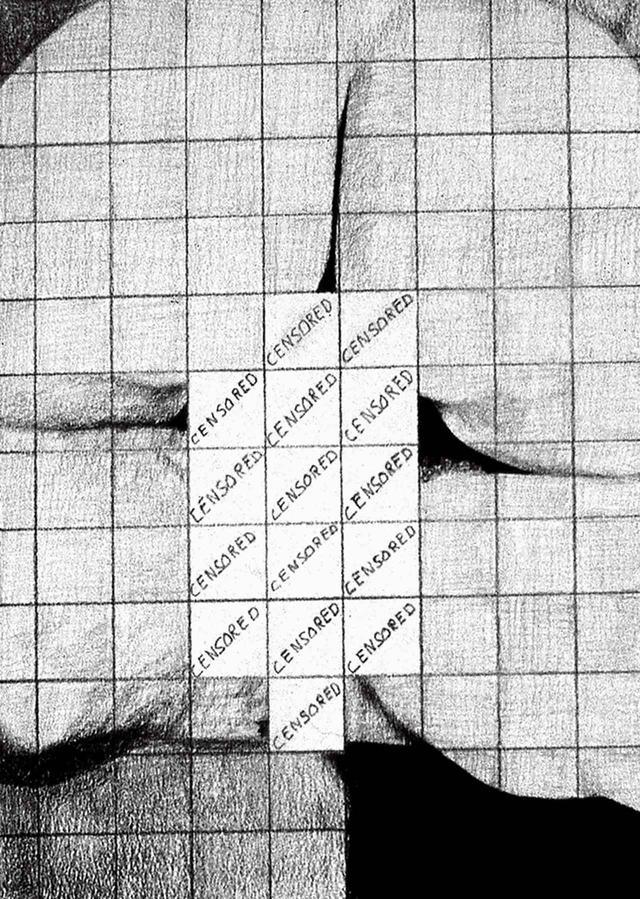 画像: トンプキンズの1970年代の絵画のひとつ。 《CENSORED GRID #1》1974年。紙に鉛筆 COURTESY OF THE ARTIST AND P.P.O.W