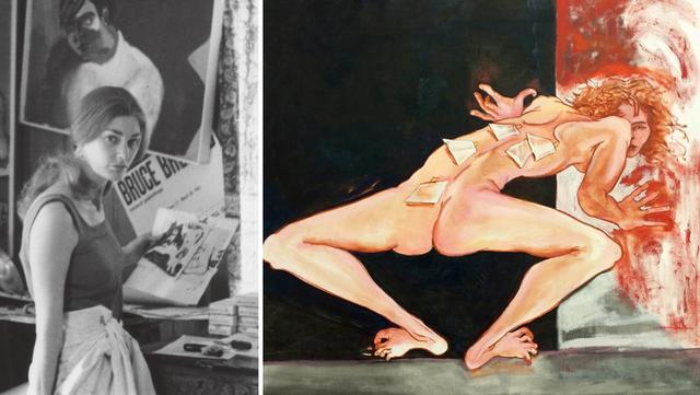 画像: (写真左) 1967年ごろのマクニーリー。 PHOTOGRAPH BY MICHAEL SIPORIN, COURTESY OF JUANITA MCNEELY (写真右) 彼女の自画像のひとつ《TAGGED》2014年 PHOTOGRAPH BY JEAN VONG COURTESY OF THE ARTIST AND MITCHELL ALGUS GALLERY, NYC