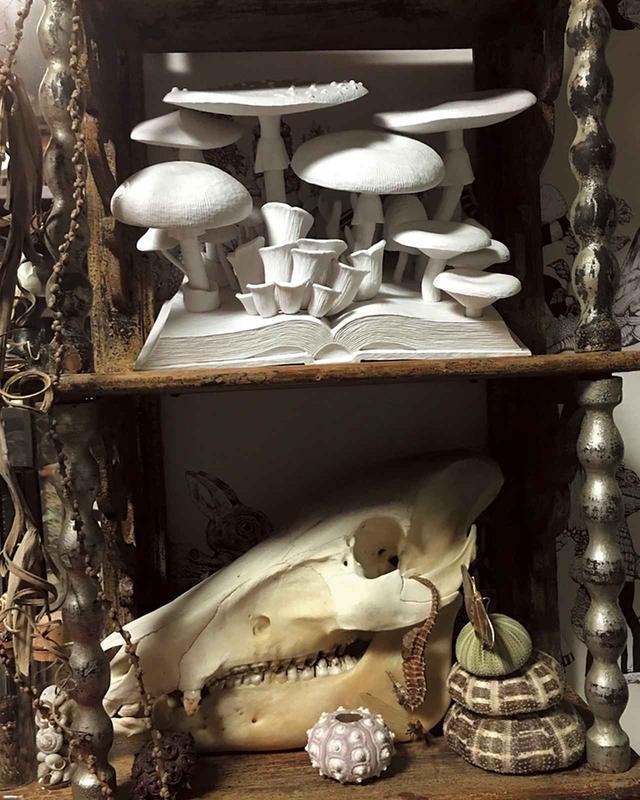 画像: さまざまなアーティストの作品を購入して活動をサポート。アンティークの牛骨の上には木彫りできのこを制作する作家・小島秋彦による作品がディスプレイされている COURTESY OF THE ARTIST ©️HIGUCHI YUKO