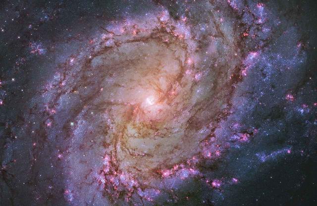 画像: ハッブル宇宙望遠鏡がとらえた渦巻銀河M83。ピンク色の箇所は、新しい星が活発に誕生している場所だ © NASA, ESA, AND THE HUBBLE HERITAGE TEAM(STSCI・AURA)