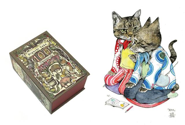 画像: (写真左)『ヒグチユウコ 100 POST CARDS[Animals]』(グラフィック社/3,500円)はアートワークをポストカード状に。ヴィンテージ風に仕上げたボックスのデザインにも、彼女のこだわりを感じる (写真右)ヒグチ作品は和紙に、細い黒ペンで描かれる。水彩絵の具で着彩され、どこかレトロな風合いに。 擬人化した猫たちは人気のモチーフ