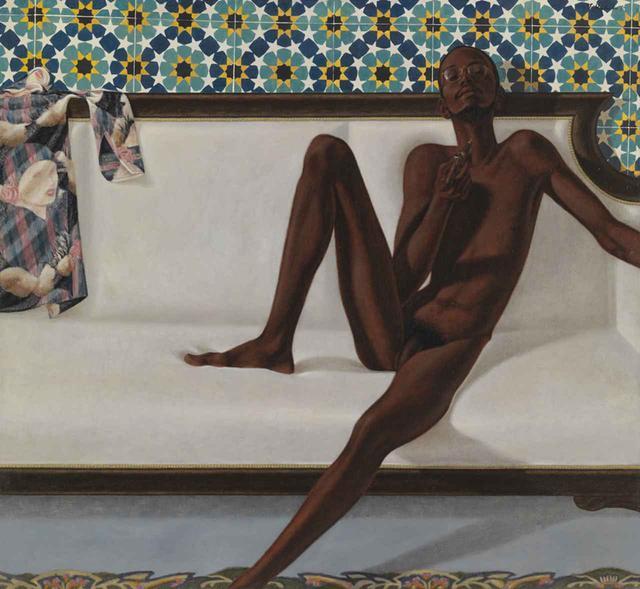 画像: バークレー・L・ ヘンドリックス 《ファミリー・ジュールス: NNN(No Naked Niggahs[裸の黒人は存在しない])》(1974年) 油彩/麻布 168.1×183.2cm LENT BY THE AMERICAN FUND FOR THE TATE GALLERY, COURTESY OF THE NORTH AMERICAN ACQUISITIONS COMMITTEE 2011 IMAGE © TATE, LONDON 2017 ©ESTATE OF BARKLEY L. HENDRICKS. COURTESY OF JACK SHAINMAN GALLERY, NEW YORK.
