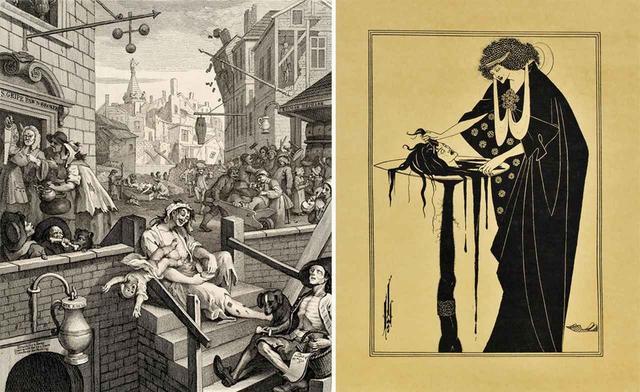 画像: (写真左より) ウィリアム・ホガース 『ビール街とジン横丁』より《ジン横丁》 1750-51年 エッチング、エングレーヴィング・紙 郡山市立美術館蔵 © KORIYAMA CITY MUSEUM OF ART オーブリー・ビアズリー ワイルド『サロメ』より《踊り手の褒美》 1894年 ラインブロック・紙 個人蔵