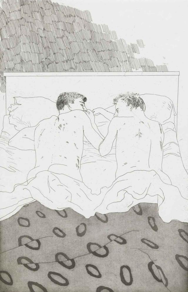 画像: デイヴィッド・ホックニー《23,4歳のふたりの男子》 C.P. カヴァフィスの14編の詩のための挿絵より(1966年) エッチング、 アクアチント、紙 34.5×22.3cm TATE: PURCHASED 1992 © DAVID HOCKNEY