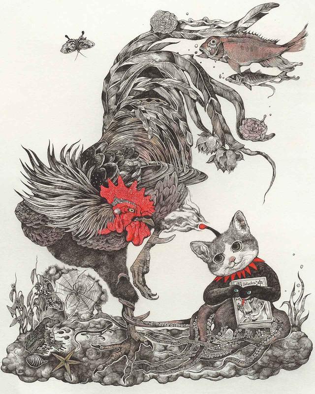 画像: 2016年、京都髙島屋で行われた『ギュスターヴ ヒグチユウコ』のポップアップショップでは絵師・伊藤若冲生誕300年を記念し、<花卉雄鶏図>へのオマージュ作品を発表した