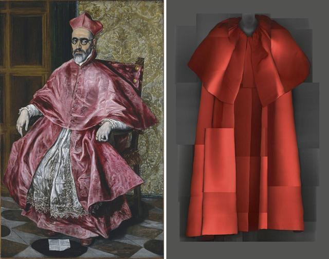 画像: (写真左)エル・グレコによる枢機卿(すうききょう)フェルナンド・ニーニョ・デ・ゲバラの肖像(1600年頃) (写真右)クリストバル・バレンシアガによるイブニングコート(1954-'55年秋冬) PHOTOGRAPHS: THE METROPOLITAN MUSEUM OF ART / DIGITAL COMPOSITE BY KATERINA JEBB