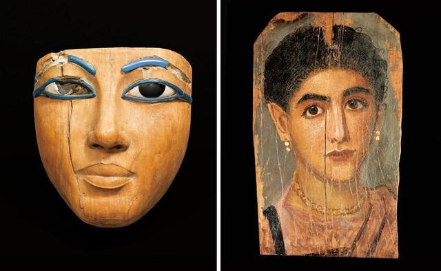 画像: (写真左から) 《棺に由来するマスク》新王国時代、第18王朝、アメンへテプ3世の治世(前1391-前1353年)、エジプト出土 《女性の肖像》2世紀後半、エジプト、テーベ(?)出土 (FROM LEFT)PHOTOGRAPH:© RMN-GRAND PALAIS (MUSÈE DU LOUVRE) / FRANCK RAUX / DISTRIBUTED BY AMF-DNPARTCOM, PHOTOGRAPH:© RMN-GRAND PALAIS (MUSÈE DU LOUVRE) /GEORGES PONCET / DISTRIBUTED BY AMF-DNPARTCOM